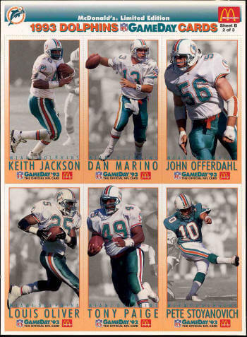 Miami Dolphins 1993 gameday cards sheet B image