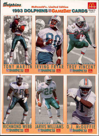 Miami Dolphins 1993 gameday cards sheet C image